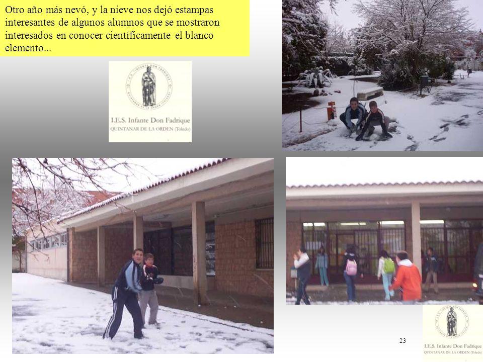 Otro año más nevó, y la nieve nos dejó estampas interesantes de algunos alumnos que se mostraron interesados en conocer científicamente el blanco elemento...