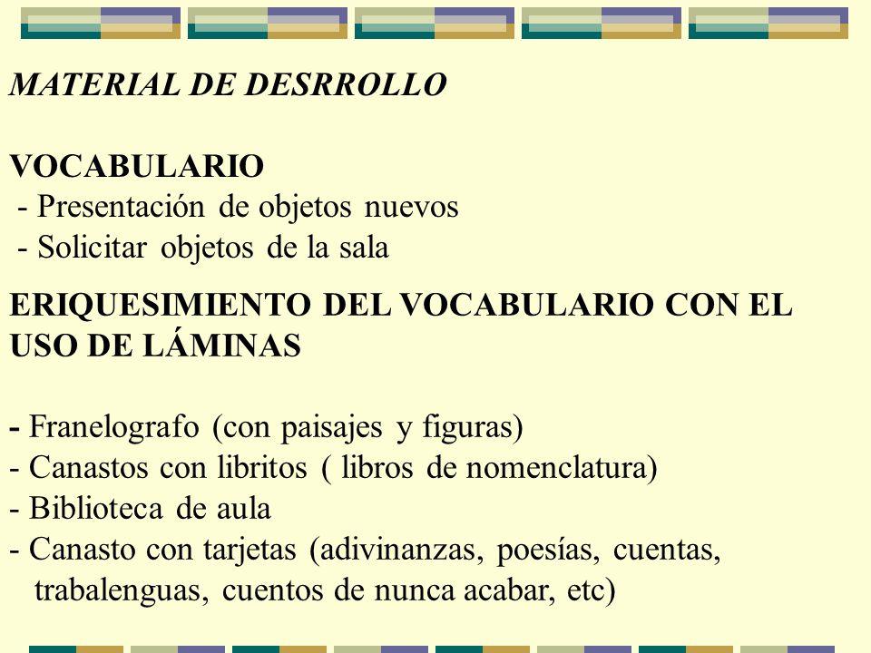 MATERIAL DE DESRROLLO VOCABULARIO. - Presentación de objetos nuevos. - Solicitar objetos de la sala.