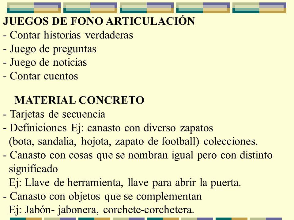 JUEGOS DE FONO ARTICULACIÓN