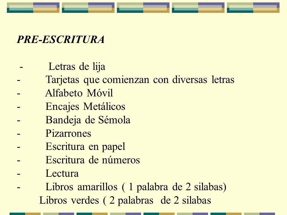 PRE-ESCRITURA - Letras de lija. - Tarjetas que comienzan con diversas letras. - Alfabeto Móvil.