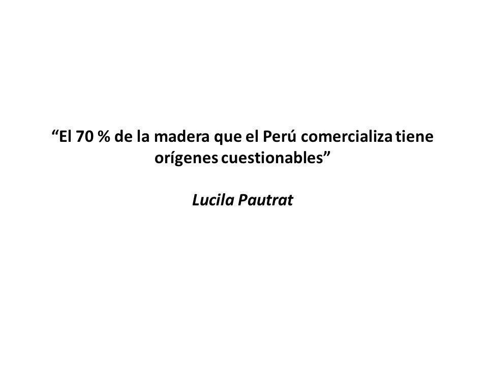 El 70 % de la madera que el Perú comercializa tiene orígenes cuestionables Lucila Pautrat