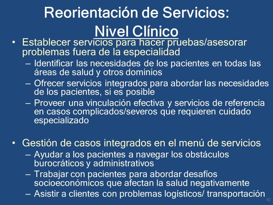 Reorientación de Servicios: Nivel Clínico