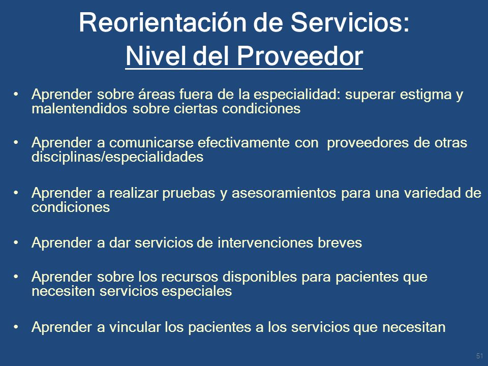 Reorientación de Servicios: Nivel del Proveedor