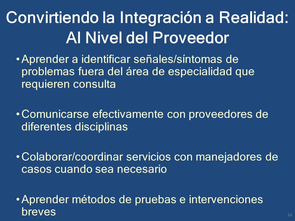 Convirtiendo la Integración a Realidad: Al Nivel del Proveedor