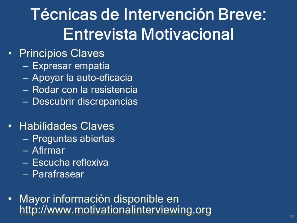 Técnicas de Intervención Breve: Entrevista Motivacional