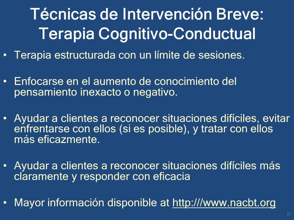 Técnicas de Intervención Breve: Terapia Cognitivo-Conductual