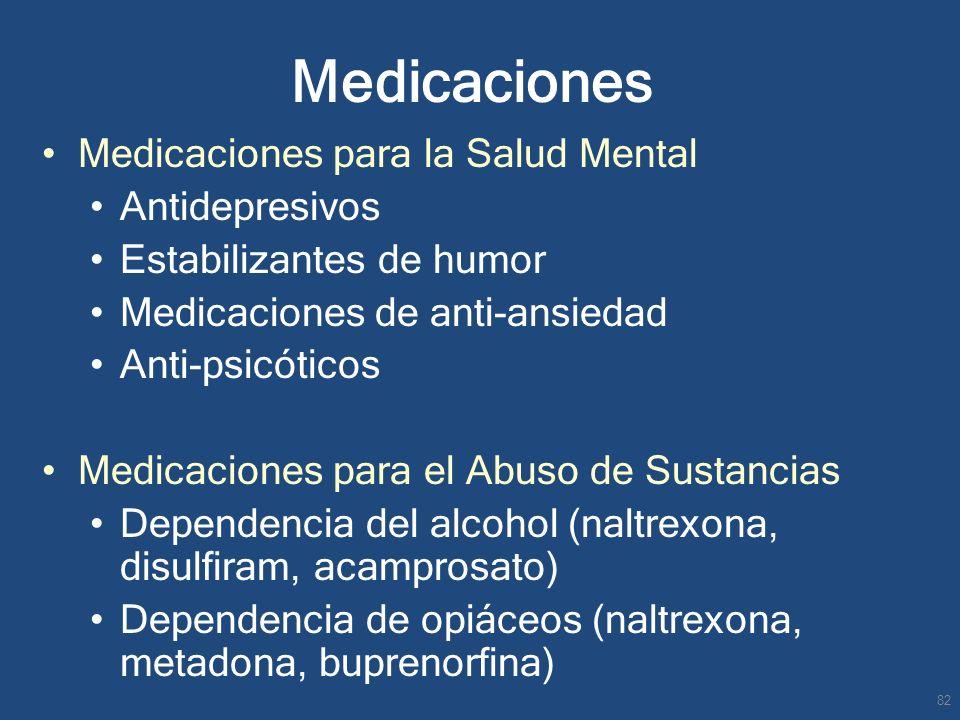 Medicaciones Medicaciones para la Salud Mental Antidepresivos