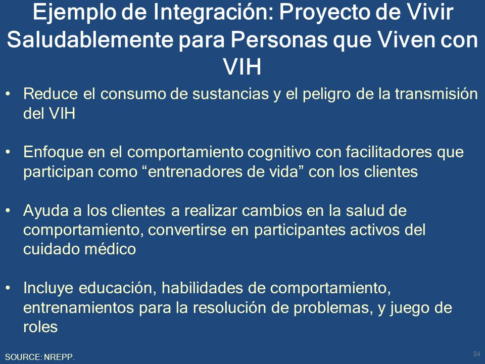 Ejemplo de Integración: Proyecto de Vivir Saludablemente para Personas que Viven con VIH