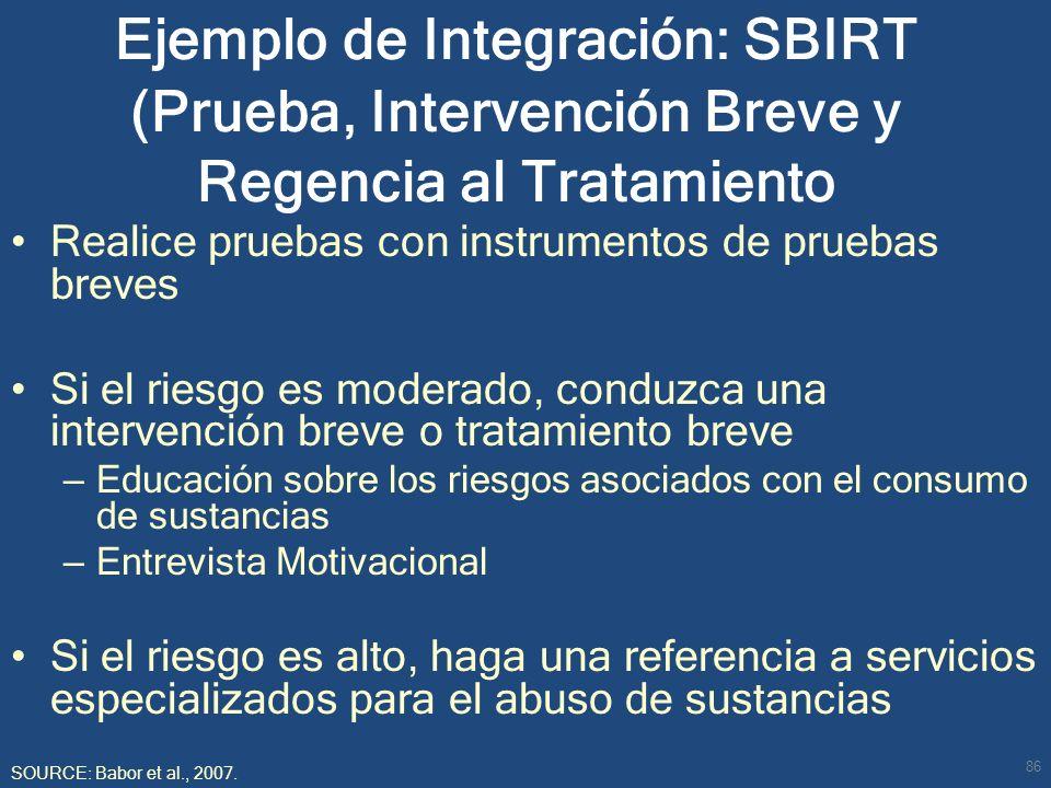 Ejemplo de Integración: SBIRT (Prueba, Intervención Breve y Regencia al Tratamiento