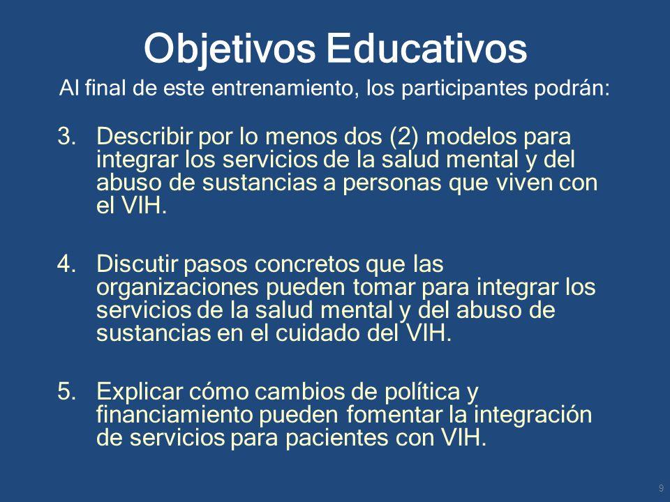 Objetivos Educativos Al final de este entrenamiento, los participantes podrán: