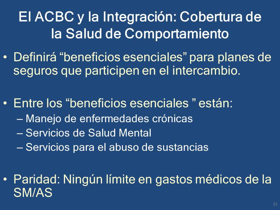 El ACBC y la Integración: Cobertura de la Salud de Comportamiento