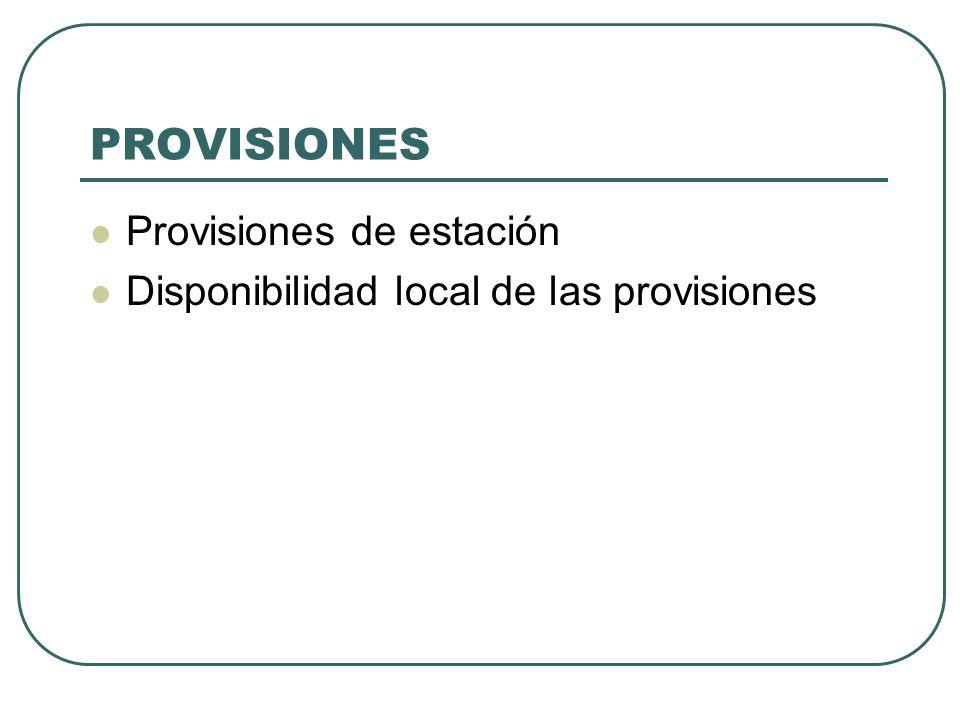 PROVISIONES Provisiones de estación