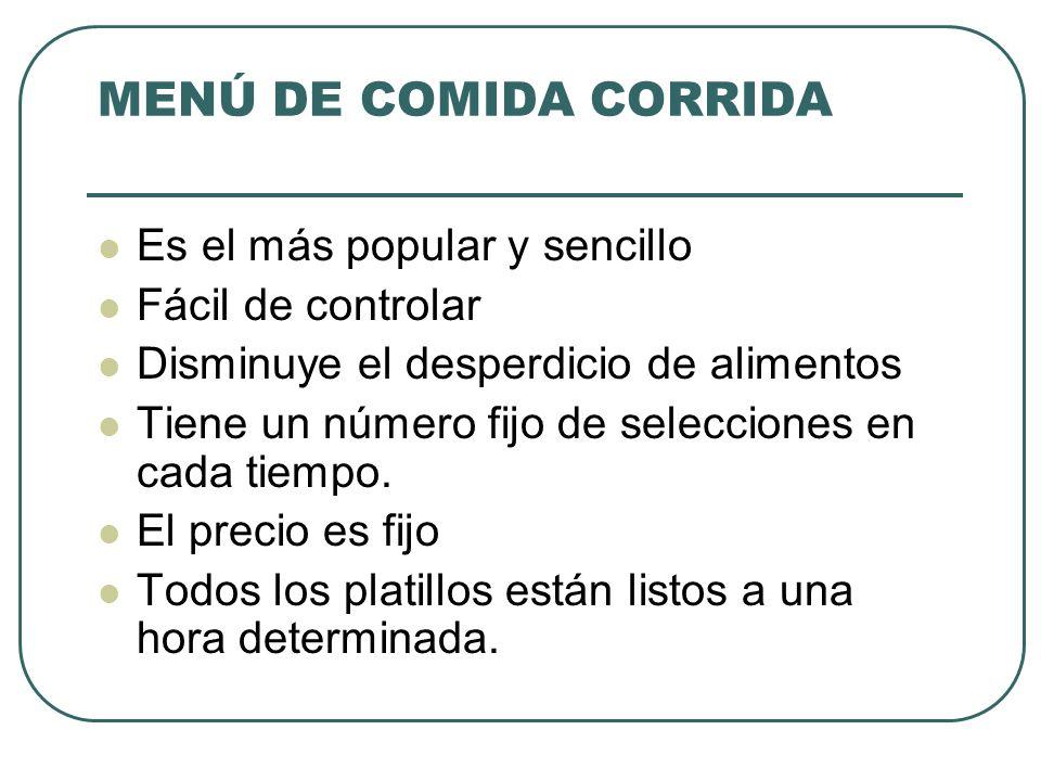 MENÚ DE COMIDA CORRIDA Es el más popular y sencillo Fácil de controlar