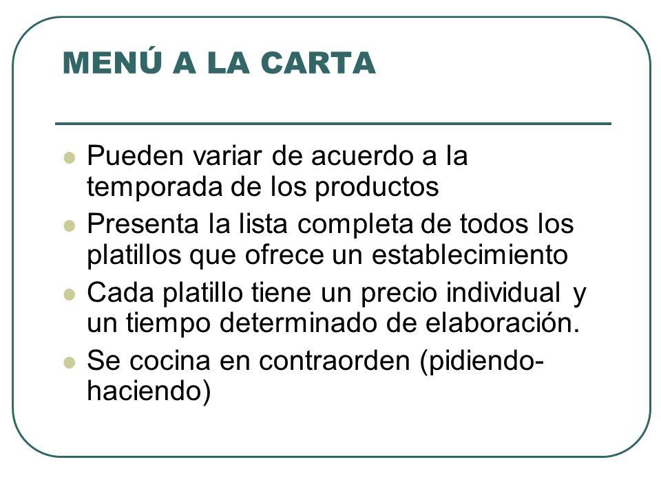 MENÚ A LA CARTA Pueden variar de acuerdo a la temporada de los productos.
