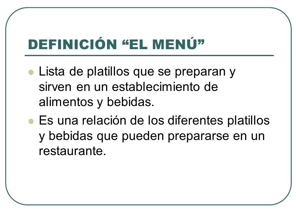 DEFINICIÓN EL MENÚ Lista de platillos que se preparan y sirven en un establecimiento de alimentos y bebidas.