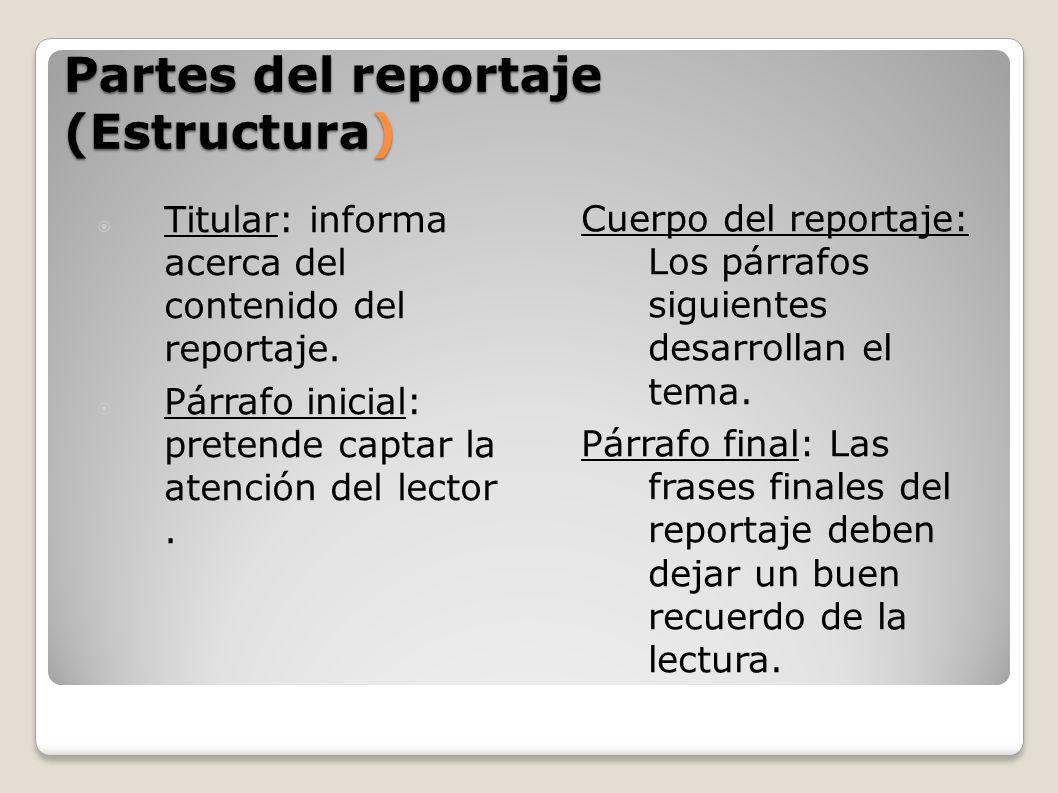 Partes del reportaje (Estructura)