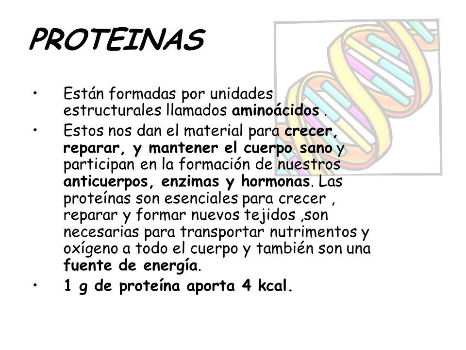 PROTEINAS Están formadas por unidades estructurales llamados aminoácidos .