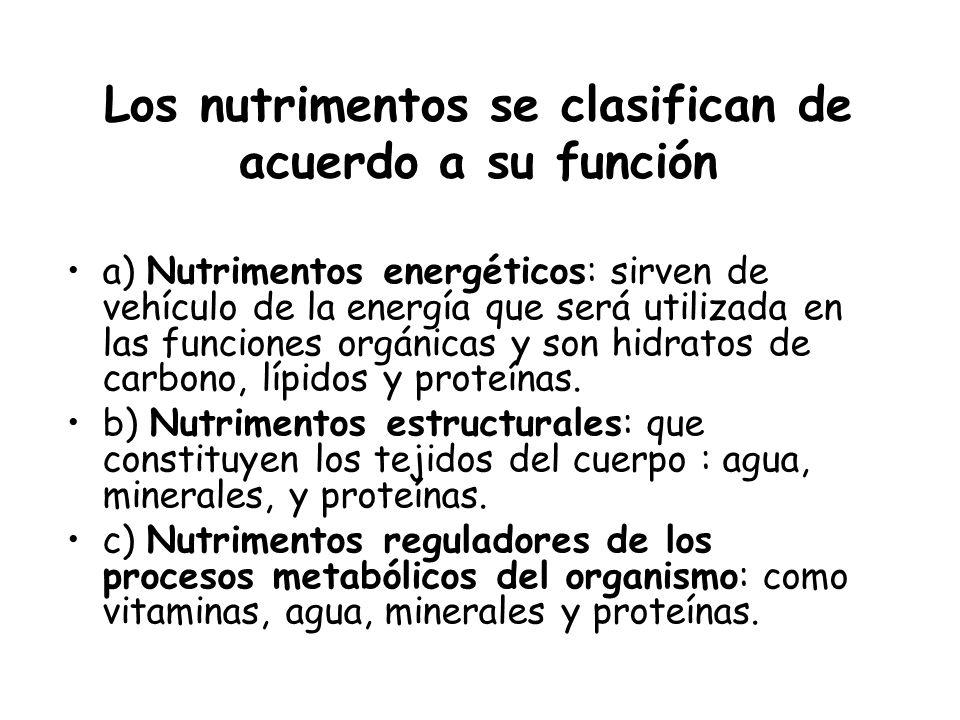 Los nutrimentos se clasifican de acuerdo a su función