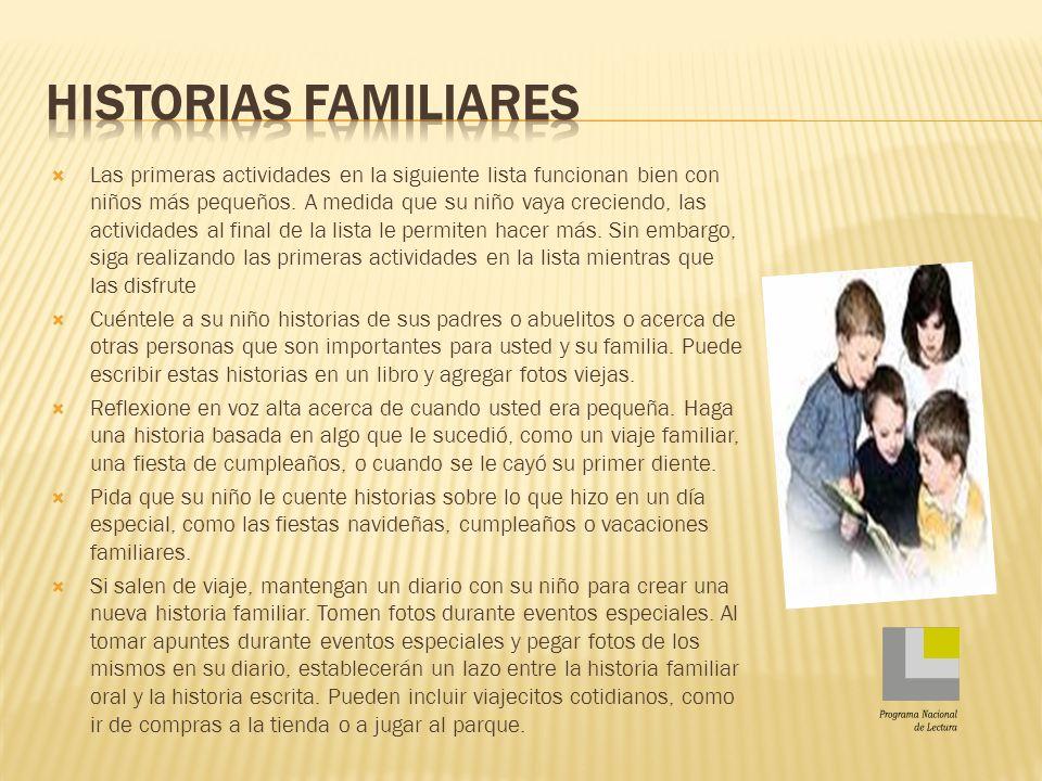 Historias familiares Programa Nacional de Lectura