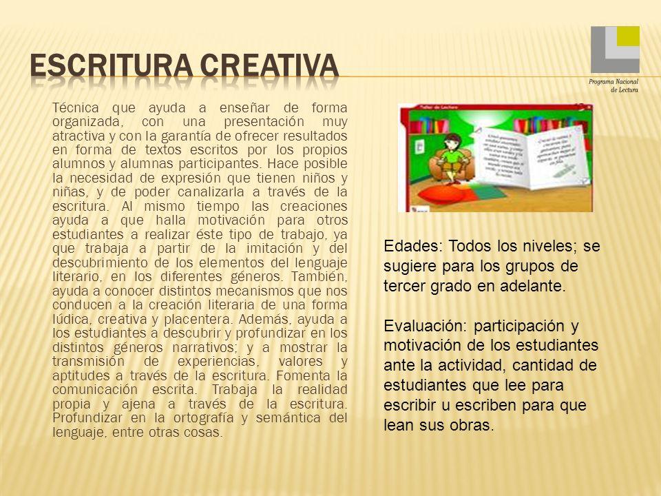 Escritura creativa Programa Nacional de Lectura