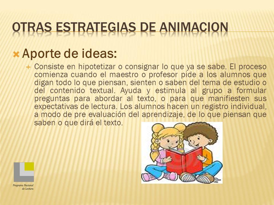 OTRAS ESTRATEGIAS DE ANIMACION