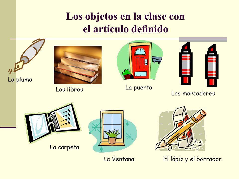 Los objetos en la clase con el artículo definido
