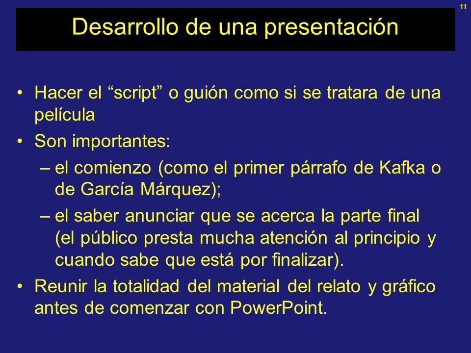Desarrollo de una presentación