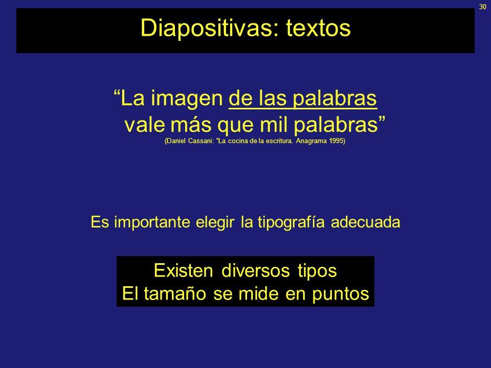 Diapositivas: textos La imagen de las palabras vale más que mil palabras (Daniel Cassani: La cocina de la escritura. Anagrama 1995)