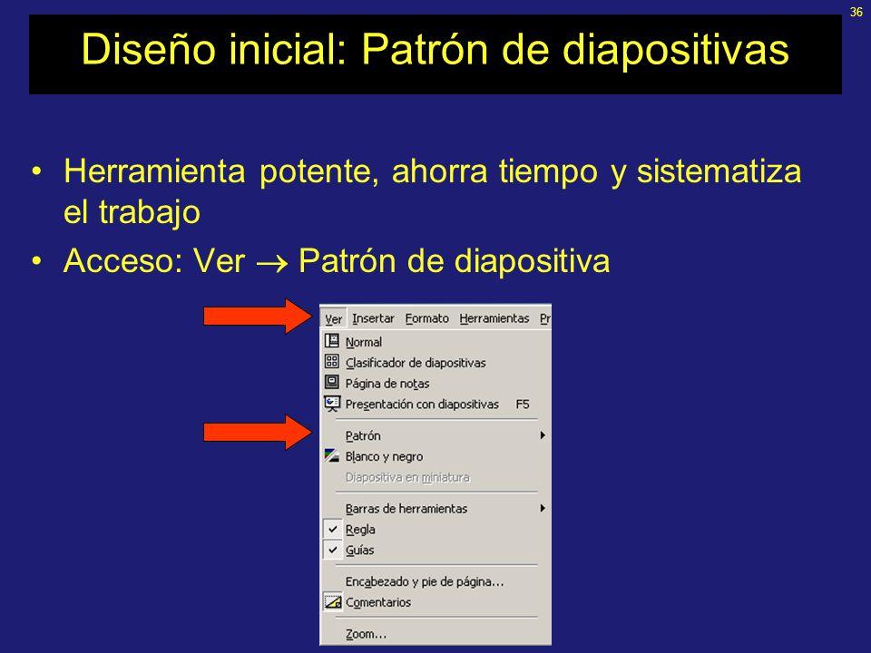 Diseño inicial: Patrón de diapositivas