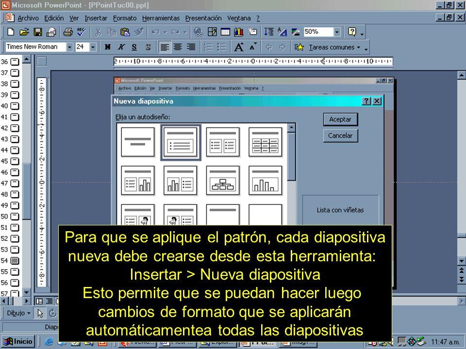 Insertar > Nueva diapositiva Esto permite que se puedan hacer luego