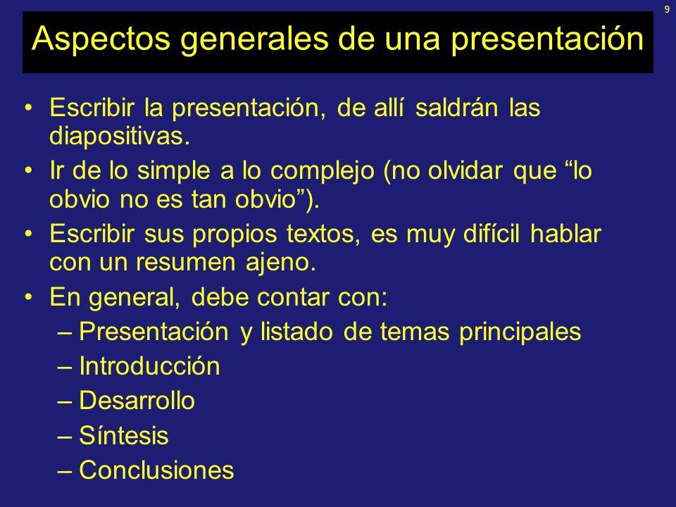 Aspectos generales de una presentación