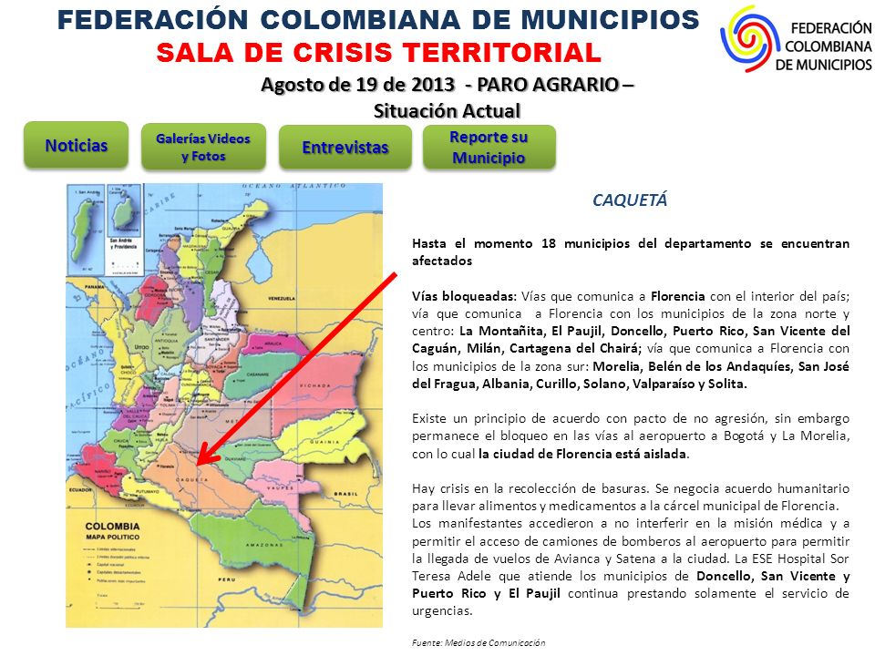 FEDERACIÓN COLOMBIANA DE MUNICIPIOS SALA DE CRISIS TERRITORIAL
