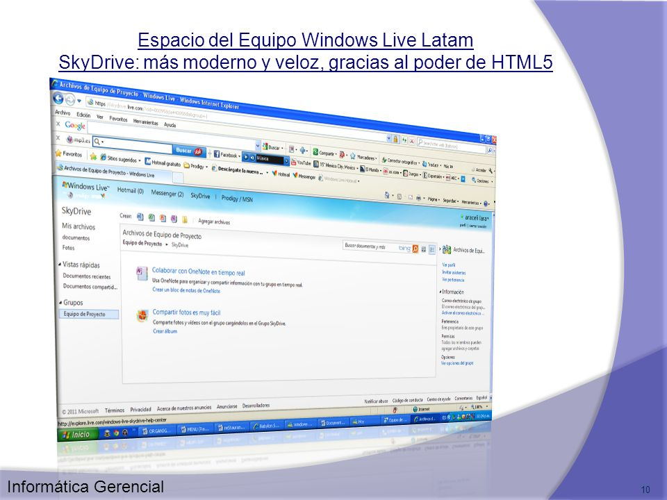 Espacio del Equipo Windows Live Latam SkyDrive: más moderno y veloz, gracias al poder de HTML5