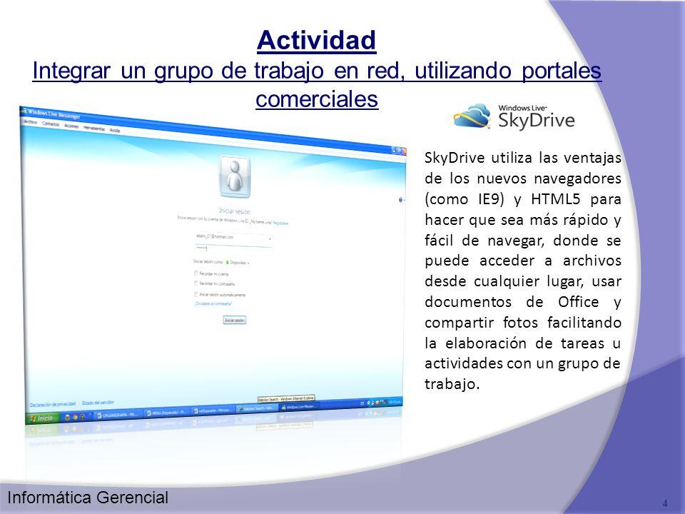 Actividad Integrar un grupo de trabajo en red, utilizando portales comerciales