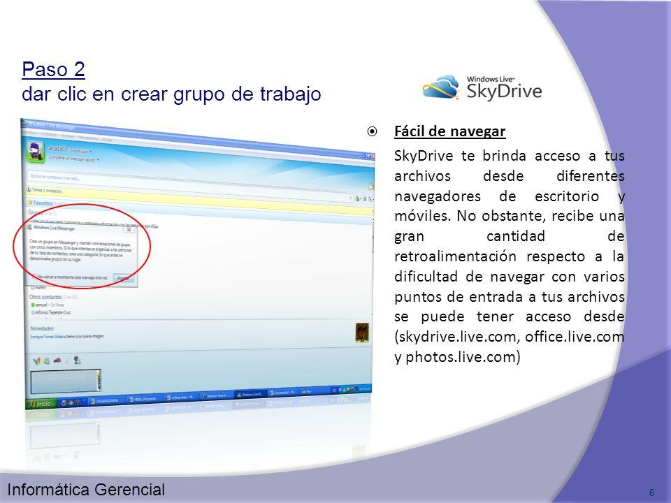 Paso 2 dar clic en crear grupo de trabajo