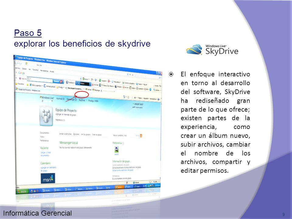 Paso 5 explorar los beneficios de skydrive