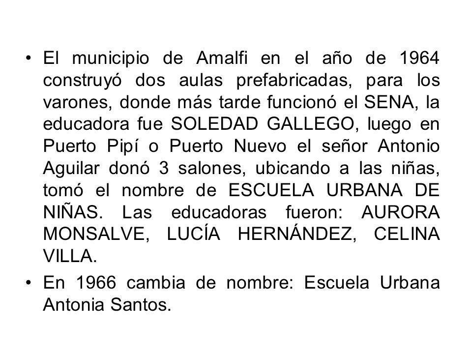 El municipio de Amalfi en el año de 1964 construyó dos aulas prefabricadas, para los varones, donde más tarde funcionó el SENA, la educadora fue SOLEDAD GALLEGO, luego en Puerto Pipí o Puerto Nuevo el señor Antonio Aguilar donó 3 salones, ubicando a las niñas, tomó el nombre de ESCUELA URBANA DE NIÑAS. Las educadoras fueron: AURORA MONSALVE, LUCÍA HERNÁNDEZ, CELINA VILLA.