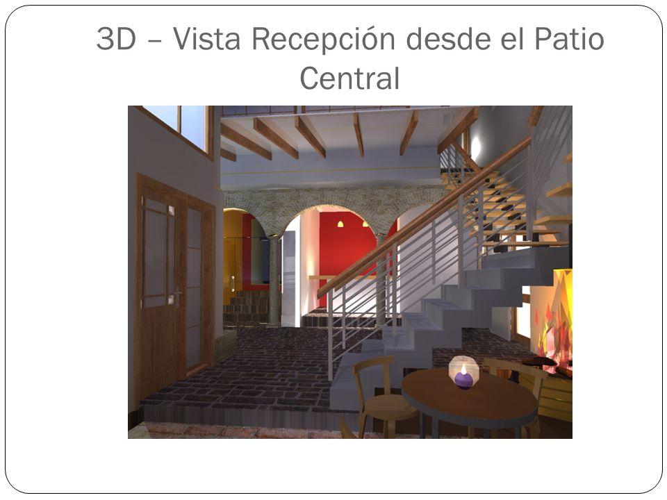 3D – Vista Recepción desde el Patio Central