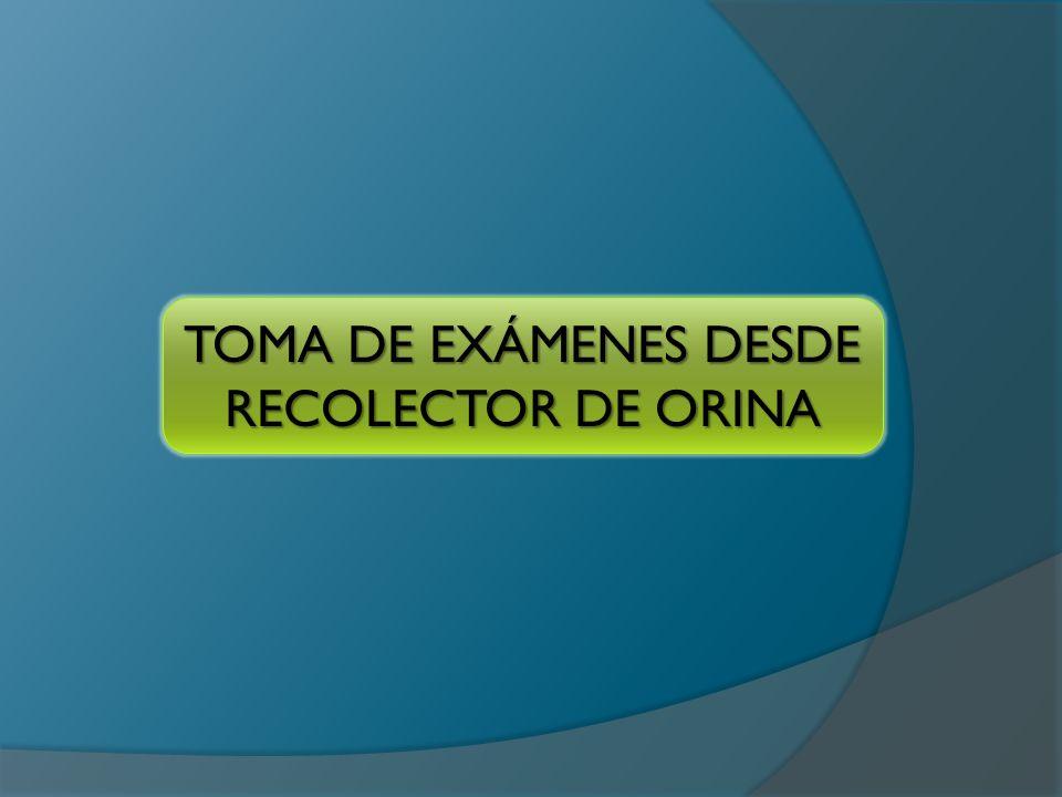 TOMA DE EXÁMENES DESDE RECOLECTOR DE ORINA