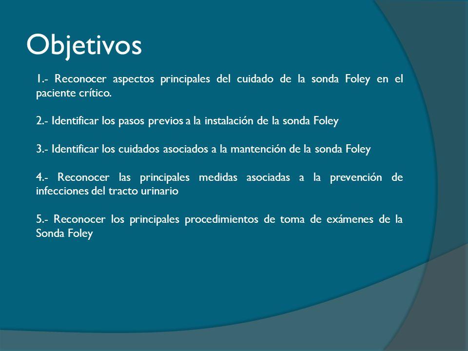 Objetivos 1.- Reconocer aspectos principales del cuidado de la sonda Foley en el paciente crítico.