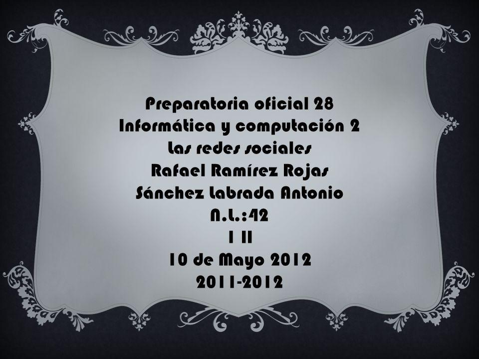 Informática y computación 2 Las redes sociales Rafael Ramírez Rojas