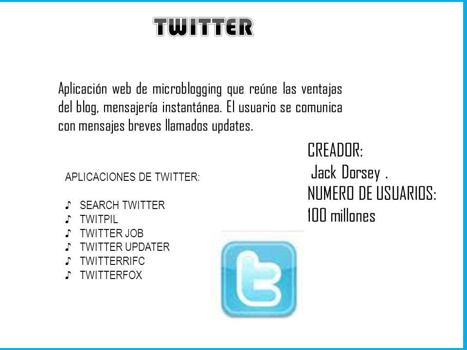 TWITTER CREADOR: Jack Dorsey . NUMERO DE USUARIOS: 100 millones