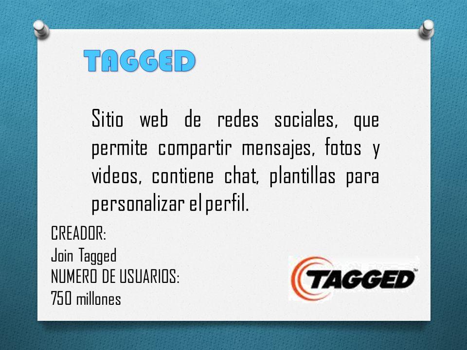 TAGGED Sitio web de redes sociales, que permite compartir mensajes, fotos y videos, contiene chat, plantillas para personalizar el perfil.