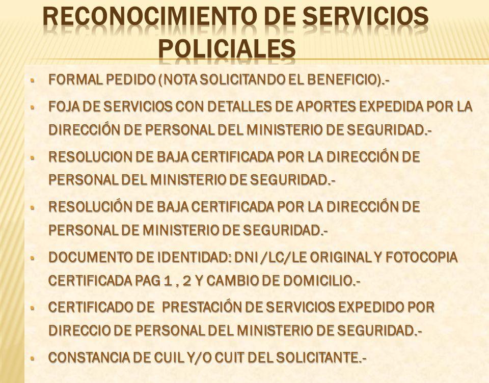 RECONOCIMIENTO DE SERVICIOS POLICIALES