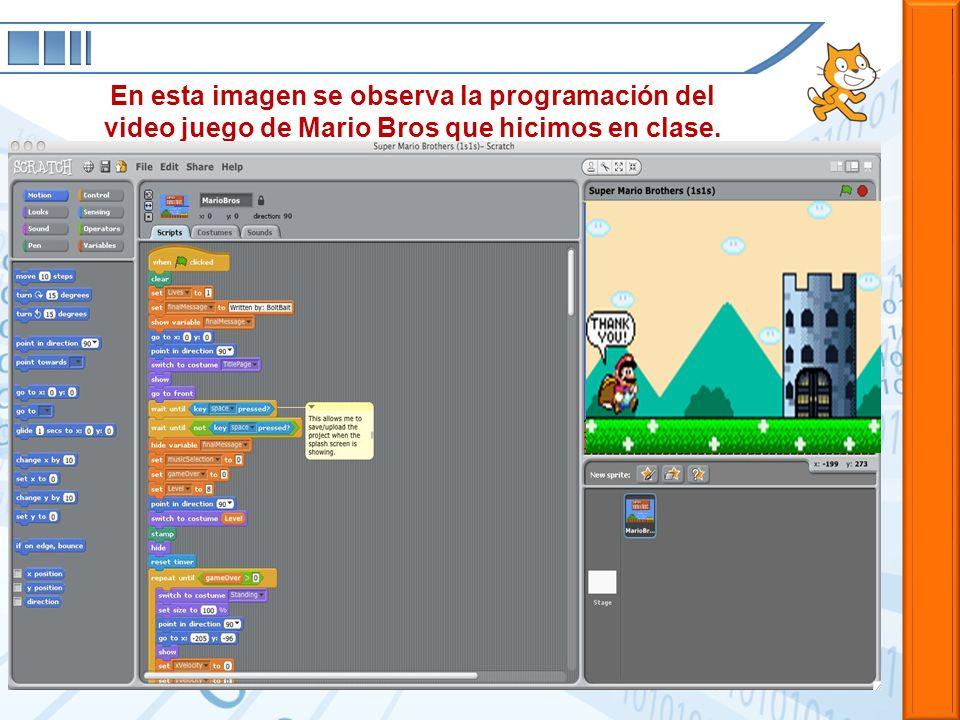 En esta imagen se observa la programación del video juego de Mario Bros que hicimos en clase.
