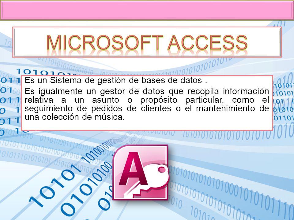 Microsoft Access Es un Sistema de gestión de bases de datos .