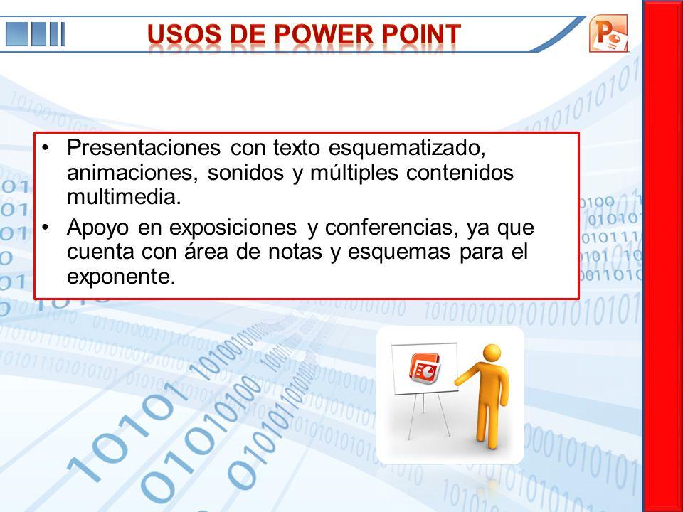 USOS DE power point Presentaciones con texto esquematizado, animaciones, sonidos y múltiples contenidos multimedia.