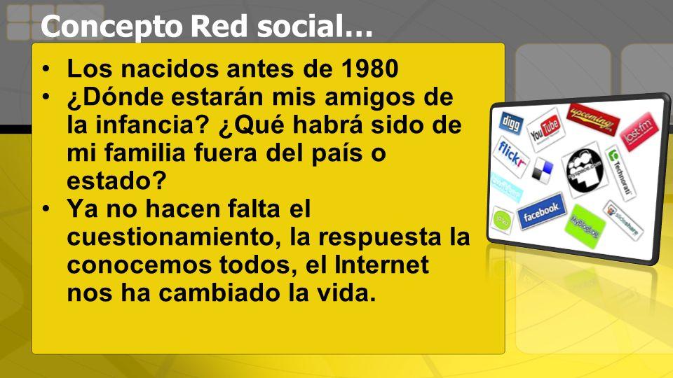 Concepto Red social… Los nacidos antes de 1980