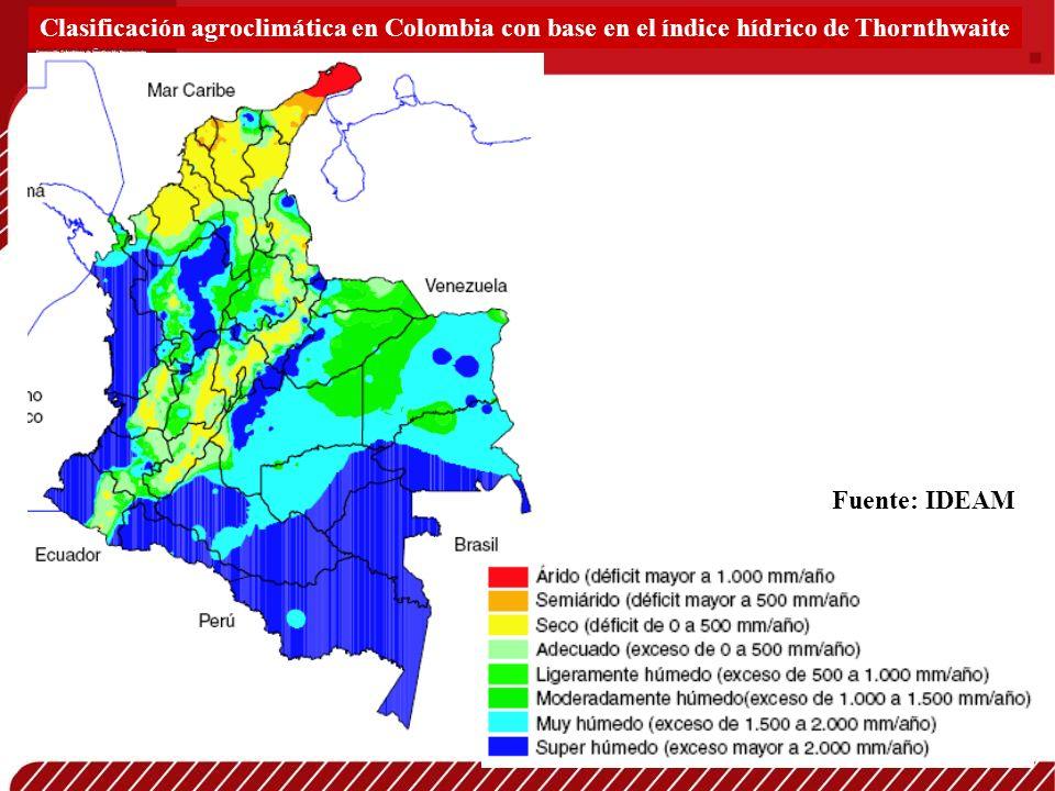 Clasificación agroclimática en Colombia con base en el índice hídrico de Thornthwaite
