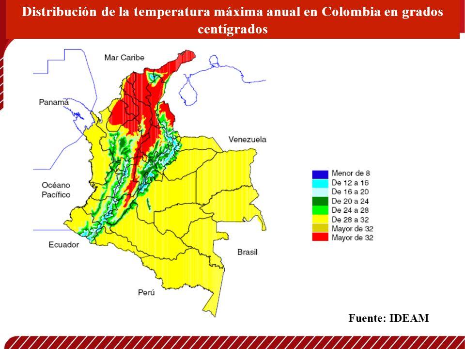 Distribución de la temperatura máxima anual en Colombia en grados centígrados